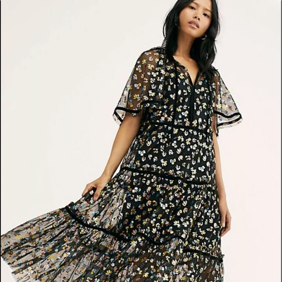NWT Free People This Is It Slip Embroidered Maxi Long Dress Black S M L